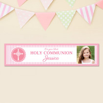 Pink Communion With Photo Upload - Personalised Banner