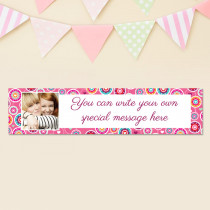 Personalised Pink Floral Pattern Photo Banner