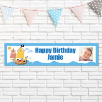 Pirate Ship With Photo Upload - Personalised Banner