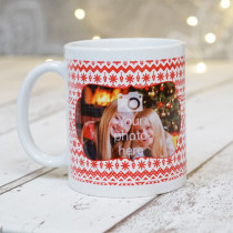 Red Christmas Pattern with two Photo Uploads - Mug