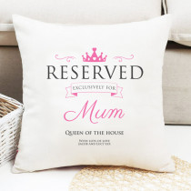 Personalised Pink Reserved Cushion