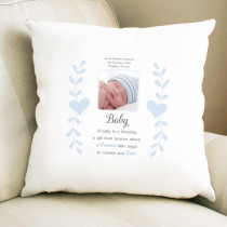 Personalised Sentimental Blue A Baby Is A Blessing Photo Cushion