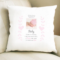 Personalised Sentimental Pink A Baby Is A Blessing Photo Cushion