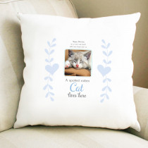 Personalised Sentimental Spoiled Rotten Cat Photo Cushion