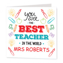 Teacher Best In The World - Luxury Greeting Card