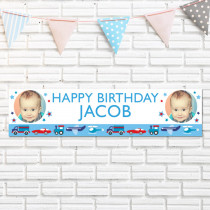 Transport Age With Photo Upload - Personalised Banner