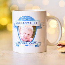 Personalised World's Greatest Blue Photo Mug