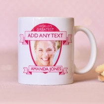 Personalised World's Greatest Pink Photo Mug
