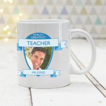 World's Greatest Teacher Photo Upload Blue - Mug