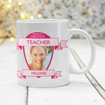 World's Greatest Teacher Photo Upload Pink - Mug