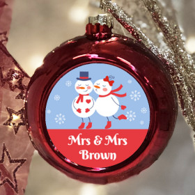 Personalised Snowman Couple - Christmas Bauble