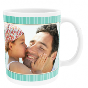 Personalised Stripes and Stars with two Photo Uploads - Mug