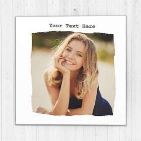 Personalised Photo Card - Ripped Effect Luxury Fabric Card with One Photo Upload