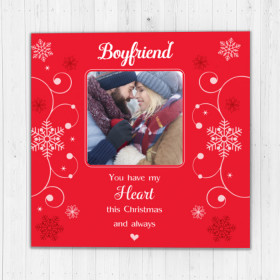 Personalised Sentiments Christmas Boyfriend with Photo Upload - Luxury Greeting Card