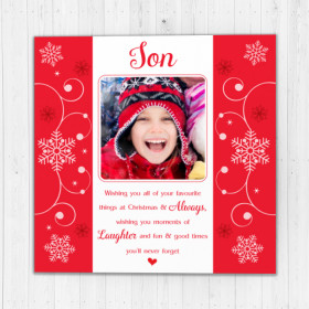 Personalised Sentiments Christmas Son with Photo Upload - Luxury Greeting Card