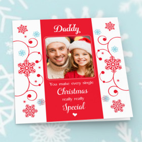 Personalised Sentiments Christmas Daddy with Photo Upload - Luxury Greeting Card