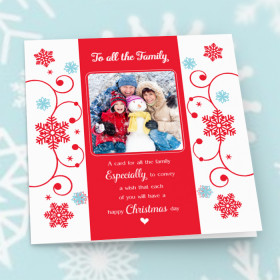 Personalised Sentiments Christmas All The Family with Photo Upload - Luxury Greeting Card