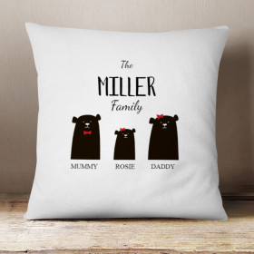 Personalised Bear Family One Girl Cushion