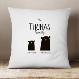 Personalised Bear Family Single One Child Cushion