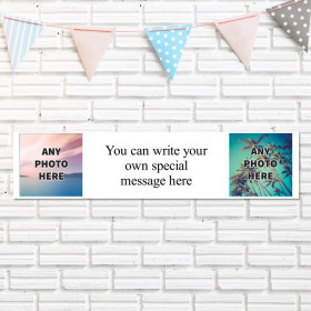 Personalised Photo Banner With Text - Two Photo Upload