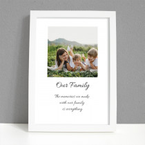 Personalised Photo Framed Art Print for family photo with Message - Large Frame