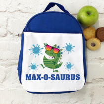 Personalised Blue Dinosaur with Name - Lunch Bag/ Box