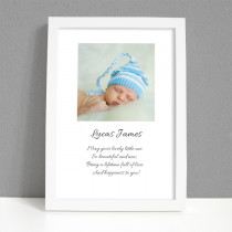 Personalised Photo Framed Art Print for Baby Boy with Message - Large Frame