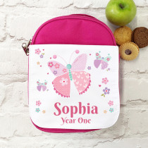 Personalised Pink Butterfly with Name - Lunch Bag/ box