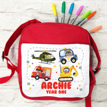Personalised Boys School Bag in Red