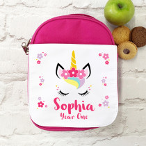 Personalised Unicorn Lunch Bag/ Box - pink
