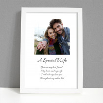 Personalised Photo Framed Art Print for Wife with Message - Large Frame