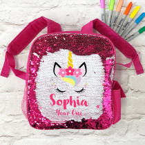 Personalised Reversible Sequin Unicorn School Bag - pink
