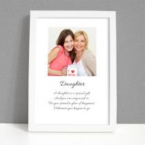 Personalised Photo Framed Art Print for Daughter with Message - Large Frame