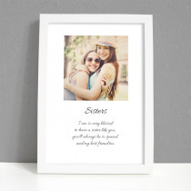 Personalised Photo Framed Art Print for Sister with Message - Large Frame