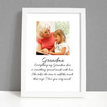 Personalised Photo Framed Art Print for Grandma with Message - Large Frame