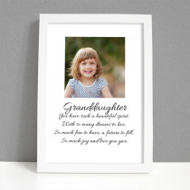 Personalised Photo Framed Art Print for Granddaughter with Message - Large Frame