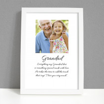 Personalised Photo Framed Art Print for Granddad with Message - Large Frame