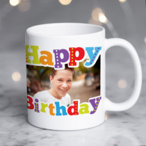 Personalised Bright Happy Birthday Photo Mug