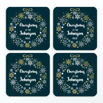 Christmas Family Wreath Non Photo - Coasters