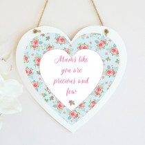 Personalised Pink And Teal Rose Pattern Hanging Heart