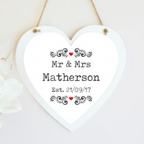 Personalised Mr And Mrs Editable Hanging Heart