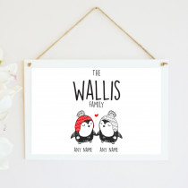 Personalised Christmas Penguin Couple - Hanging Plaque