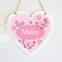 Personalised Pretty Pink Butterfly Hanging Heart