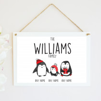 Personalised Christmas Penguin One Child - Hanging Plaque