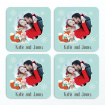 Christmas Fox And Owl Photo Upload - Coasters