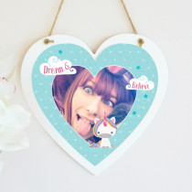 Personalised Dream Believe Unicorn Hanging Heart With Photo Upload