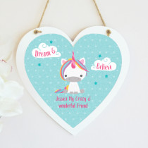 Personalised Dream Believe Unicorn Hanging Heart