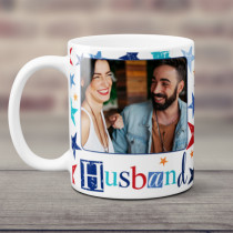 Personalised Grunge Star Husband Photo Mug