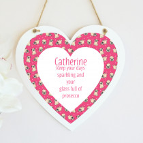 Pink Pug Pattern - Hanging Heart