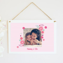 Personalised Pink Floral Frame Photo Hanging Plaque